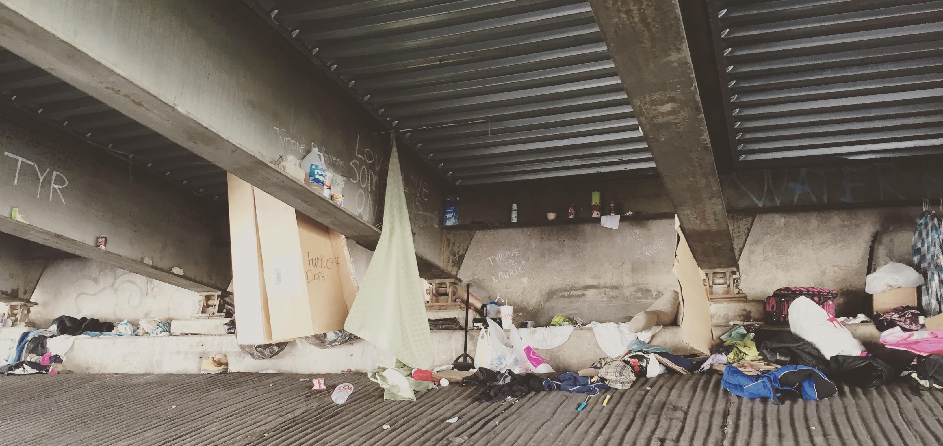Homeless camp under the overpass